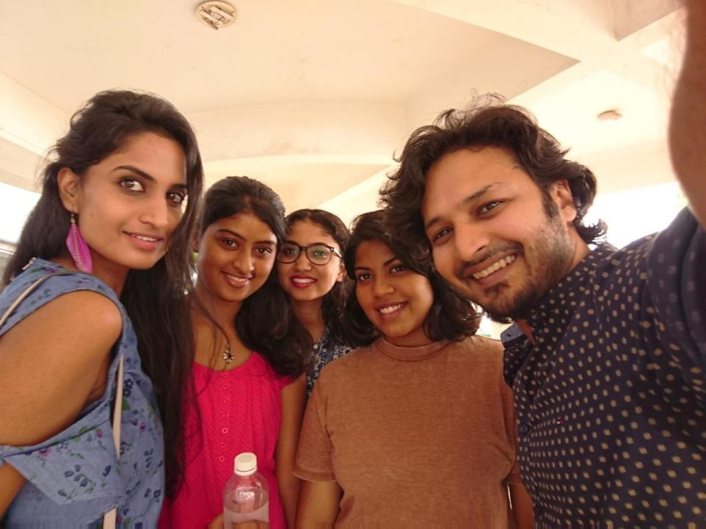 The team as part of customised design workshop with the actress Deepti Mohan, leftmost